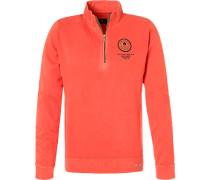 Herren Pullover Troyer, Baumwolle, koralle orange