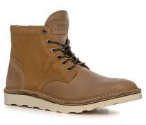 Herren Schuhe Schnürstiefeletten, Leder, camel-beige