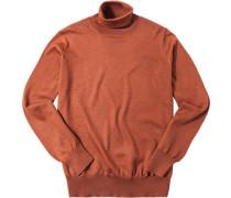 Herren Pullover Merinowolle rotbraun meliert orange