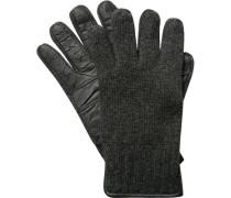 Herren Marc O`Polo Handschuhe Wolle-Leder anthrazit grau