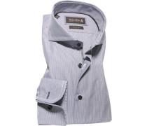 Herren Hemd, Custom Fit, Popeline, dunkelgrau-weiß gestreift