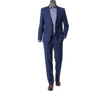 Herren Anzug, Schurwolle-Baumwolle, königsblau