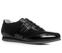 Herren Schuhe Sneaker Leder schwarz schwarz,weiß