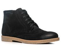 Herren Schuhe Schnürstiefeletten, Veloursleder, schwarz