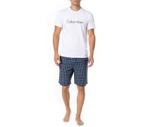 Herren Schlafanzug Pyjama, Baumwolle, rauchblau meliert