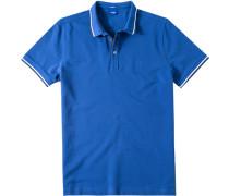 Herren Polo-Shirt Modern Fit Baumwoll-Piqué blau weiß