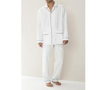 Herren Schlafanzug Pyjama Baumwolle merzerisiert weiß oder hellblau blau,weiß