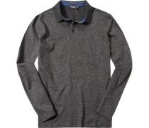 Herren Polo-Shirt Baumwoll-Trikot -grau meliert