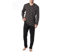 Herren Schlafanzug Pyjama, Baumwolle, braun gemustert
