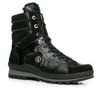 Herren Schuhe Stiefel Leder warm gefüttert schwarz