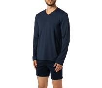 Schlafanzug Longsleeve Baumwolle navy meliert