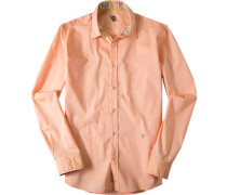 Herren Hemd Baumwolle apricot orange