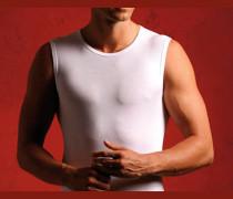 Herren ärmelloses Shirt feinste Makobaumwolle weiss weiß