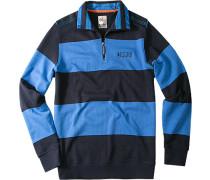Herren Pullover Troyer Baumwolle capriblau-marineblau gestreift