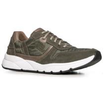 Herren Schuhe Sneaker Veloursleder-Nylon moosgrün grün,beige