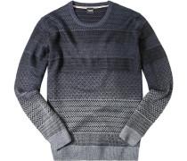 Herren Pullover Baumwolle -grau gemustert