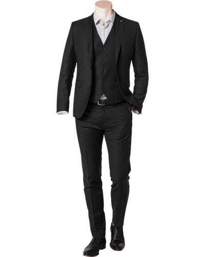 Anzug mit Weste, Slim Fit, Schurwolle Super100