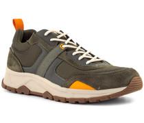 Schuhe Sneaker Leder-Textil oliv