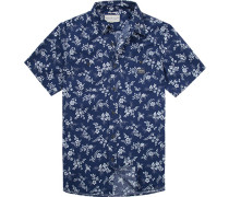 Herren Hemd, Regular Fit, Popeline, marine-weiß gemustert blau
