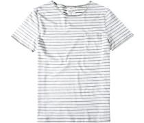 Herren T-Shirt Modern Fit Baumwolle grau gestreift weiß