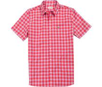 Herren Hemd Regular Fit Popeline rot-blau kariert