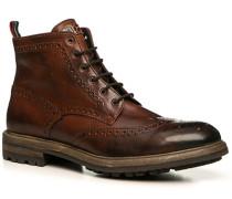 Herren Schuhe Stiefeletten Leder genarbt cuoio braun,braun