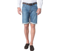 Herren Jeansshorts Modern Fit Baumwoll-Stretch denim blau