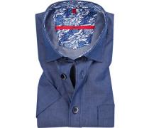 Herren Hemd, Classic Fit, Baumwolle, blau