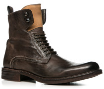 Herren Schuhe Stiefeletten, Leder, dunkelbraun