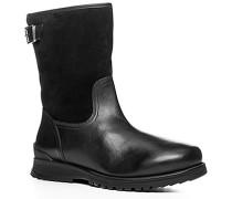 Herren Schuhe Stiefel, Glatt-Veloursleder warm gefüttert, schwarz