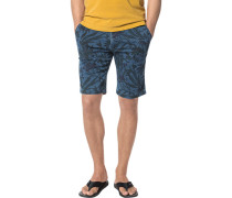 Herren Hose Bermudashorts Modern Fit Baumwolle denim floral blau