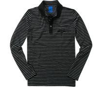 Herren Polo-Shirt Regular Fit Baumwoll-Piqué schwarz-grau gestreift