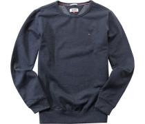Herren Sweatshirt Baumwolle blau meliert