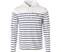 Herren T-Shirt Longsleeve mit Kapuze, Baumwolle, weiß-dunkelblau gestreift
