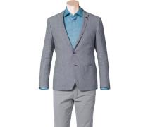 Herren Sakko Slim Fit Baumwolle-Leinen dunkelblau-weiß gemustert