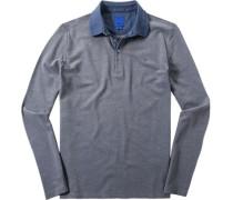 Herren Polo-Shirt Modern Fit Baumwoll-Piqué taubenblau-beige meliert