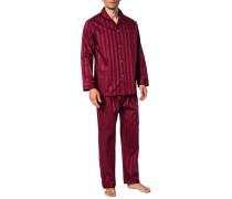 Herren Schlafanzug Pyjama, Baumwolle, bordeaux gestreift rot