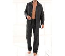 Herren Schlafanzug 'Antonio' Baumwolle anthrazit grau