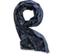 Herren Schal Baumwolle navy gemustert blau