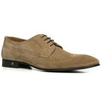 Schuhe Budapester, Veloursleder, taupe