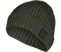 Mütze, Baumwolle, moos-schwarz meliert
