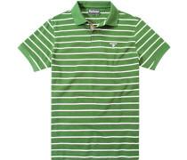 Herren Polo-Shirt Baumwoll-Piqué tannengrün-ecru gestreift
