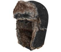 Herren Mütze Wolle warm gefüttert black