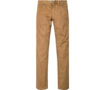 Herren Jeans Straight Fit Baumwoll-Stretch camel braun