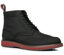 Herren Schuhe Stiefeletten Nylon-Nubukleder wasserabweisend schwarz