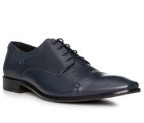 Schuhe Derby Leder blu scuro