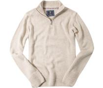 Herren Pullover Troyer Wolle sand meliert beige