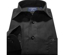 Herren Hemd, Modern Fit, Popeline, schwarz