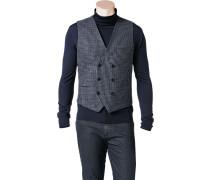 Herren Anzug Weste, Wolle, navy-grau kariert blau