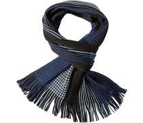 Herren  Schal Woll-Mix blau-schwarz gemustert